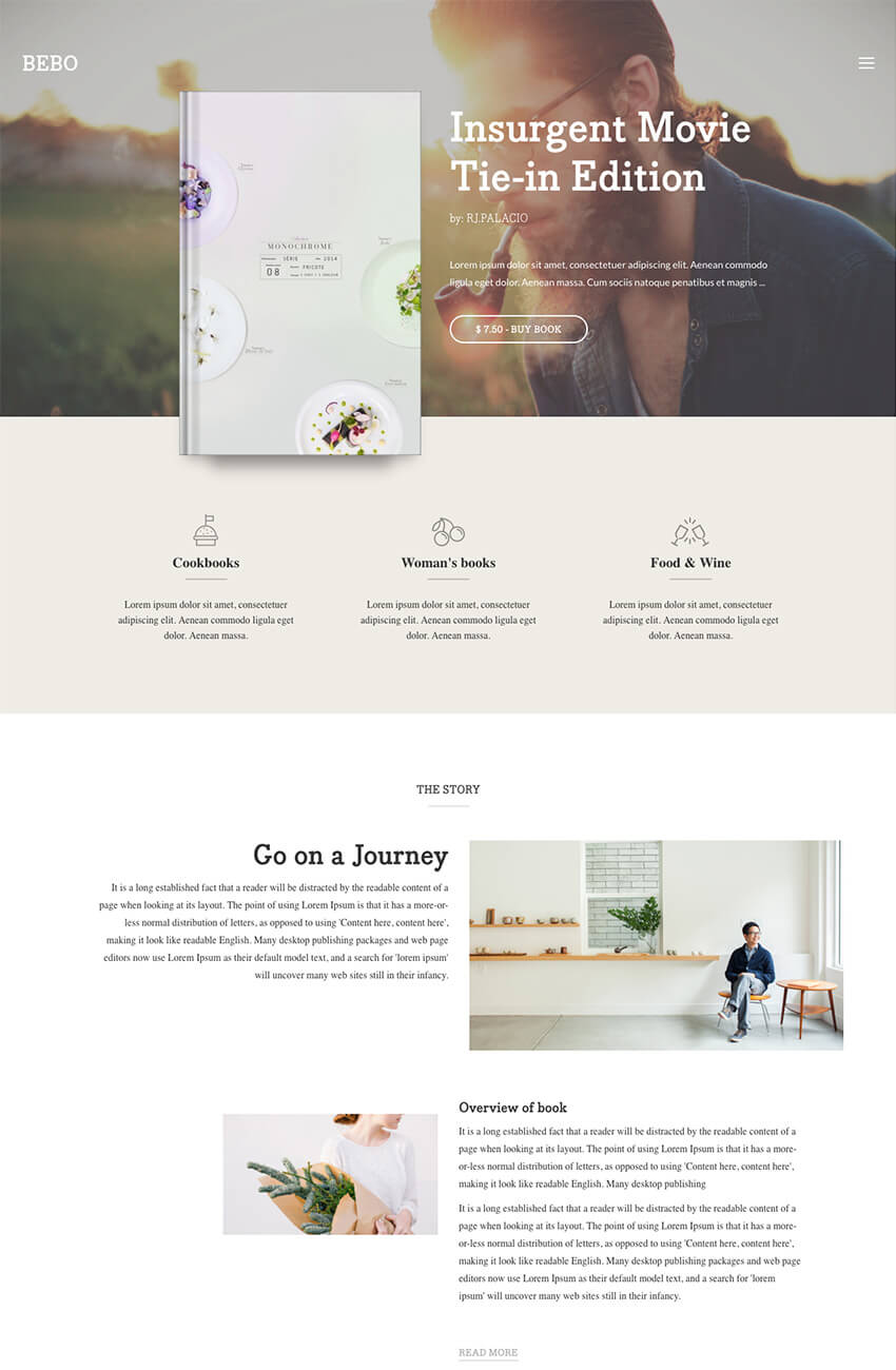 Bebo ebook WordPress eBook Theme With Author Landing Page
