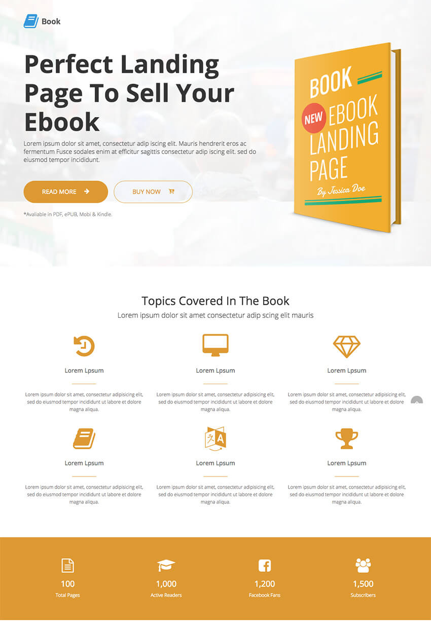 book - landing page para vender ebook