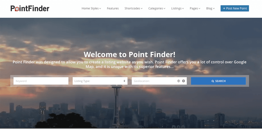 Point Finder WordPress directory website theme