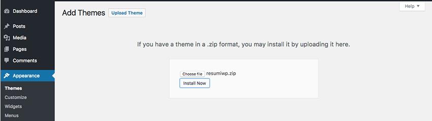 upload wordpress resume website theme