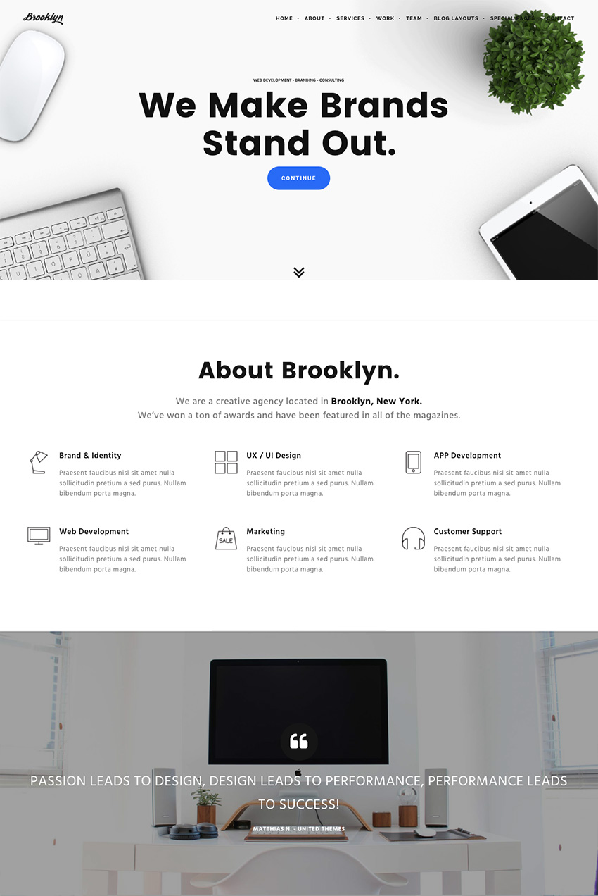 Brooklyn A Creative WordPress Agency Theme Design