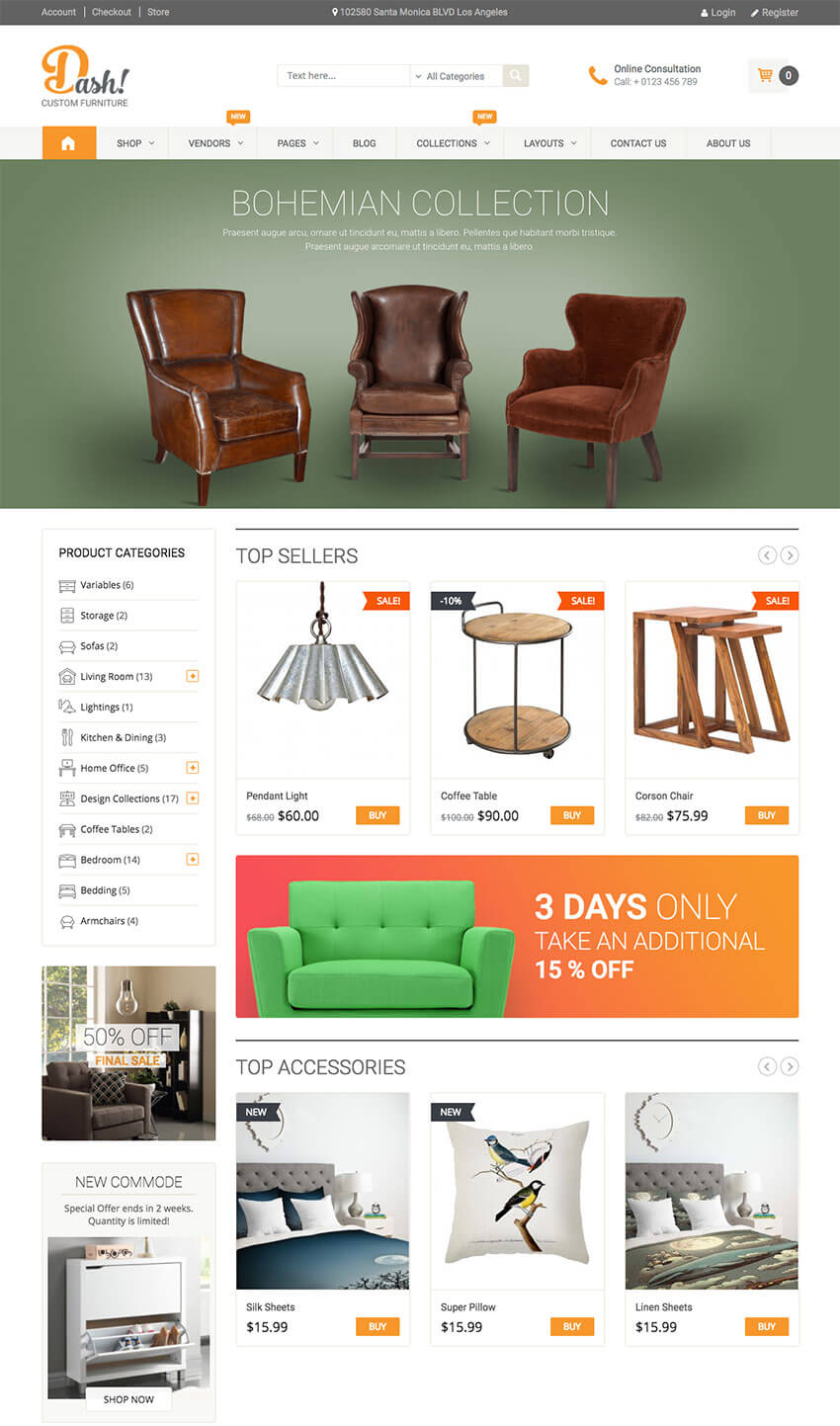 Dash Muebles hechos a mano WordPress Marketplace Theme