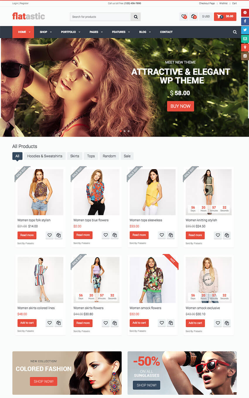 Flatastic Modern Marketplace WordPress Theme