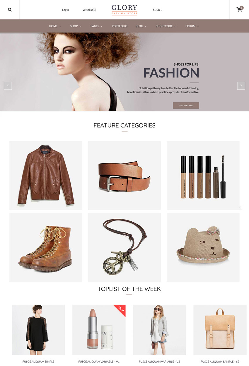 GloryGlory Tema de eCommerce de WordPress multiusos