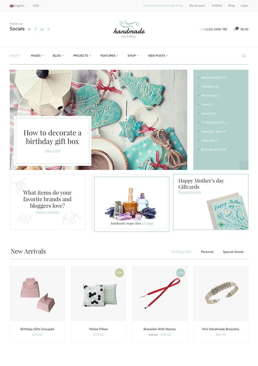 Handmade Hecho a mano Sofisticado WordPress eCommerce Marketplace Theme