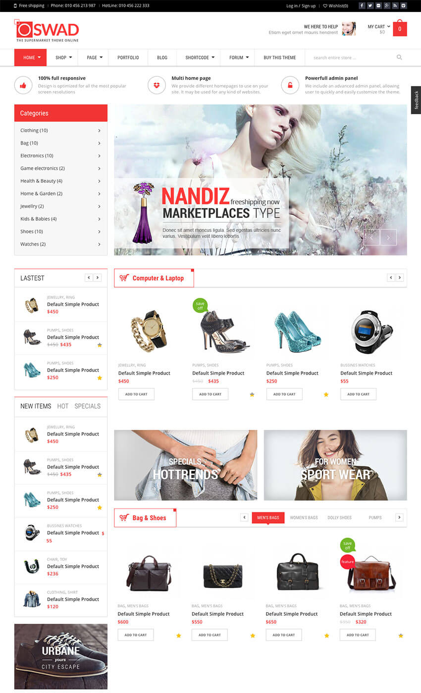 Oswad Versatile WorPress Marketplace Theme