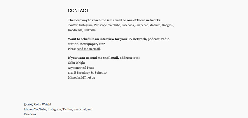 Colin contact page