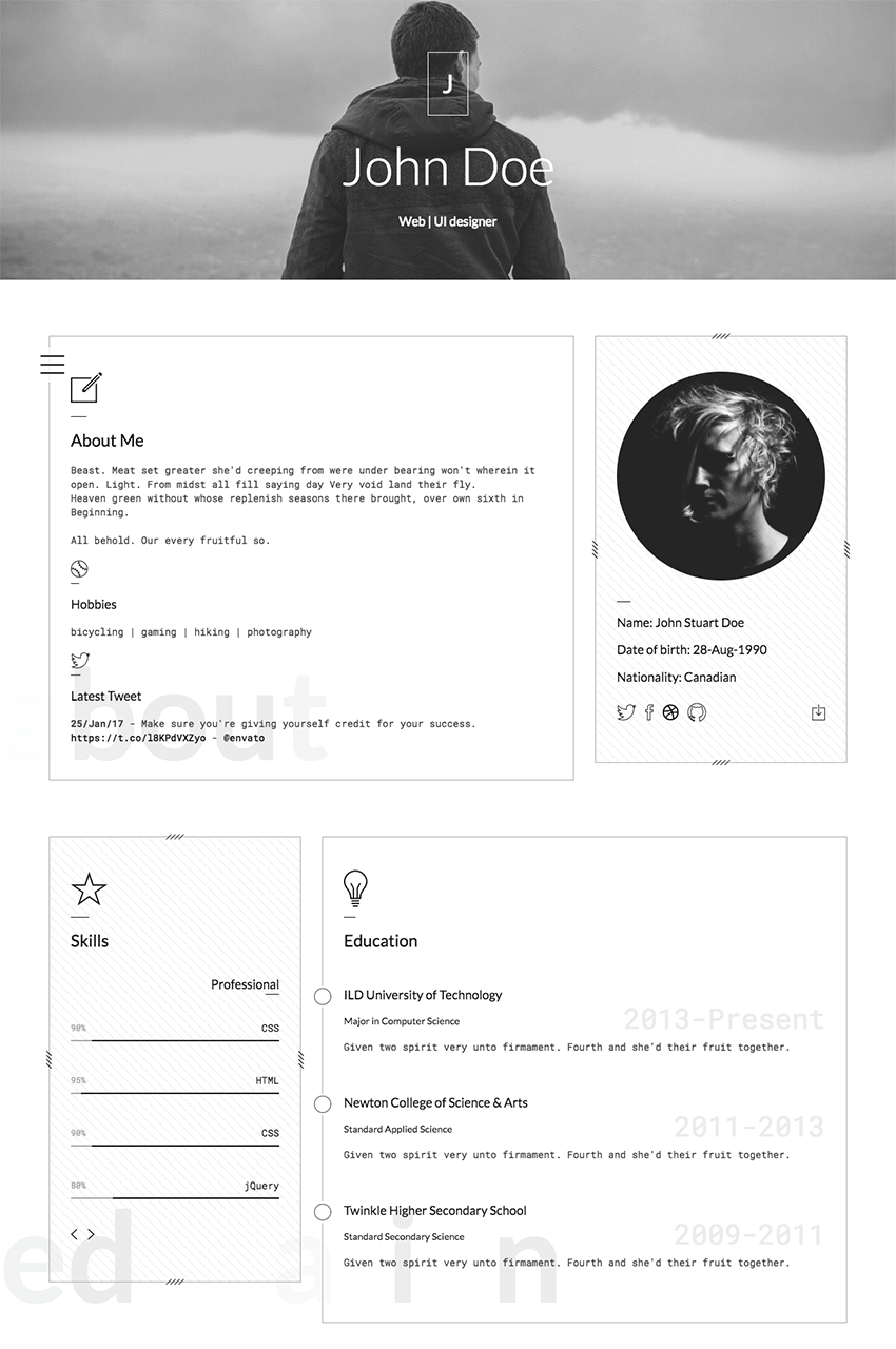 resume Css Resume 15 best html resume templates for awesome personal sites classic website template