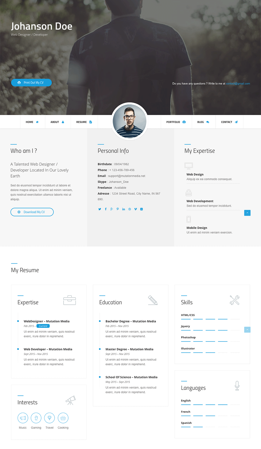 Difference Customizable HTML Resume Website Template