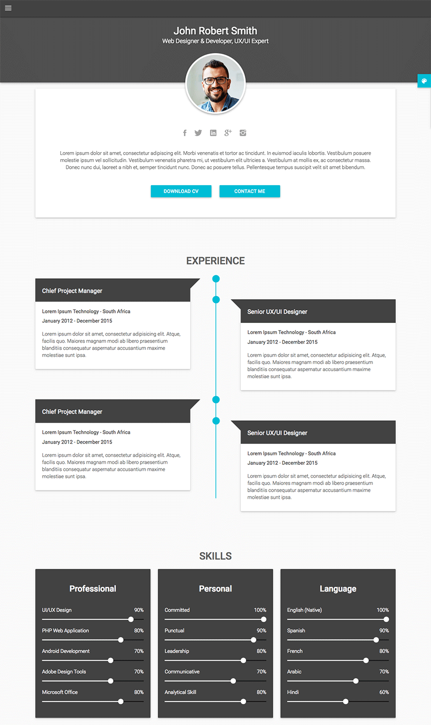 Best html resume templates for awesome personal sites decent material cv personal resume html site template yelopaper Image collections