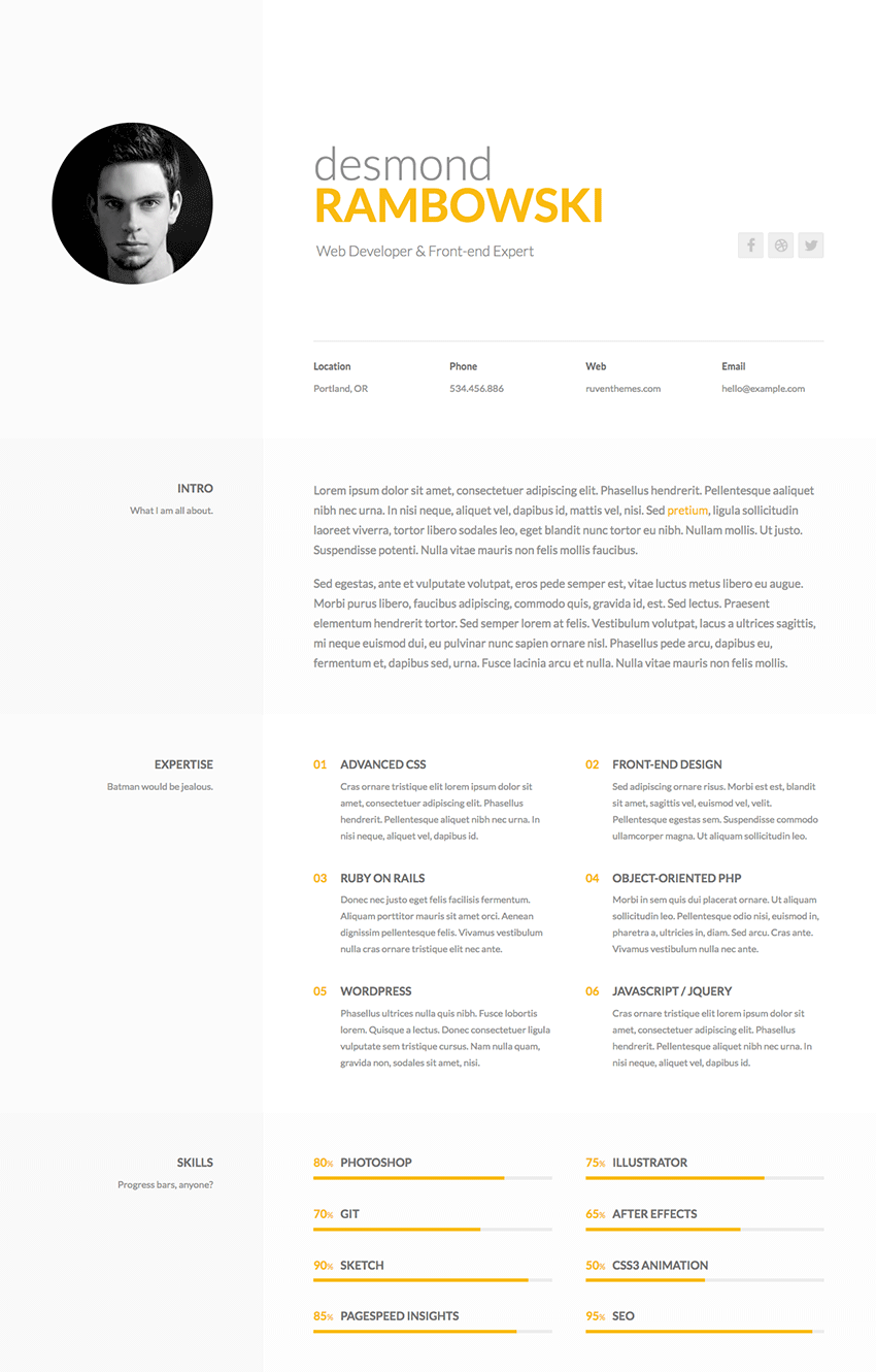 desmond personal html resume website template