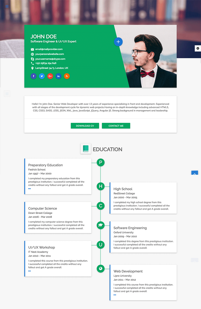 resume Css Resume 15 best html resume templates for awesome personal sites flatrica flat cvresume site template
