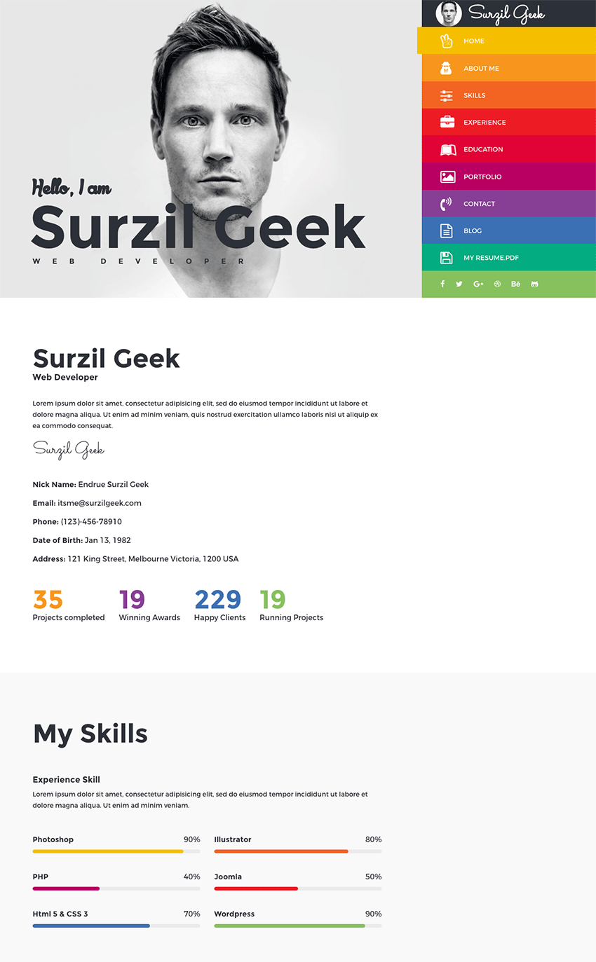 Geek   Colorful Personal Portfolio Resume Template  Best Resume Sites