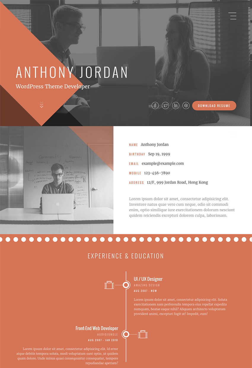 jordan interactive html resume website template with portfolio