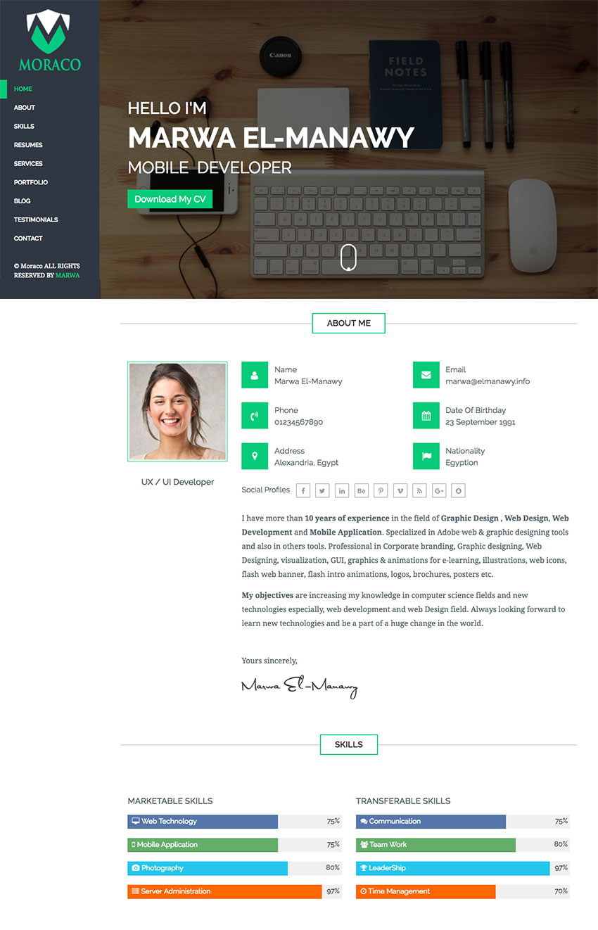 moraco clean personal html resume website template - Resume Web Template