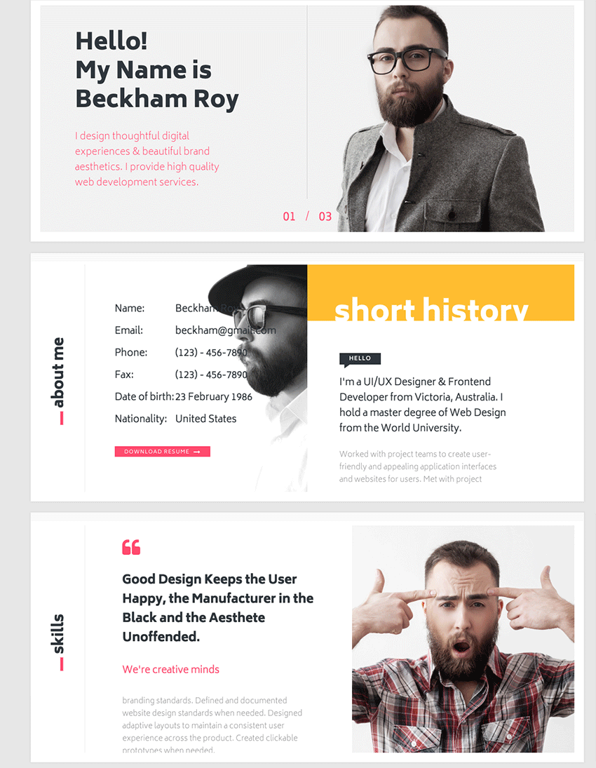 best html resume templates for awesome personal sites muu creative and interactive resume folio template