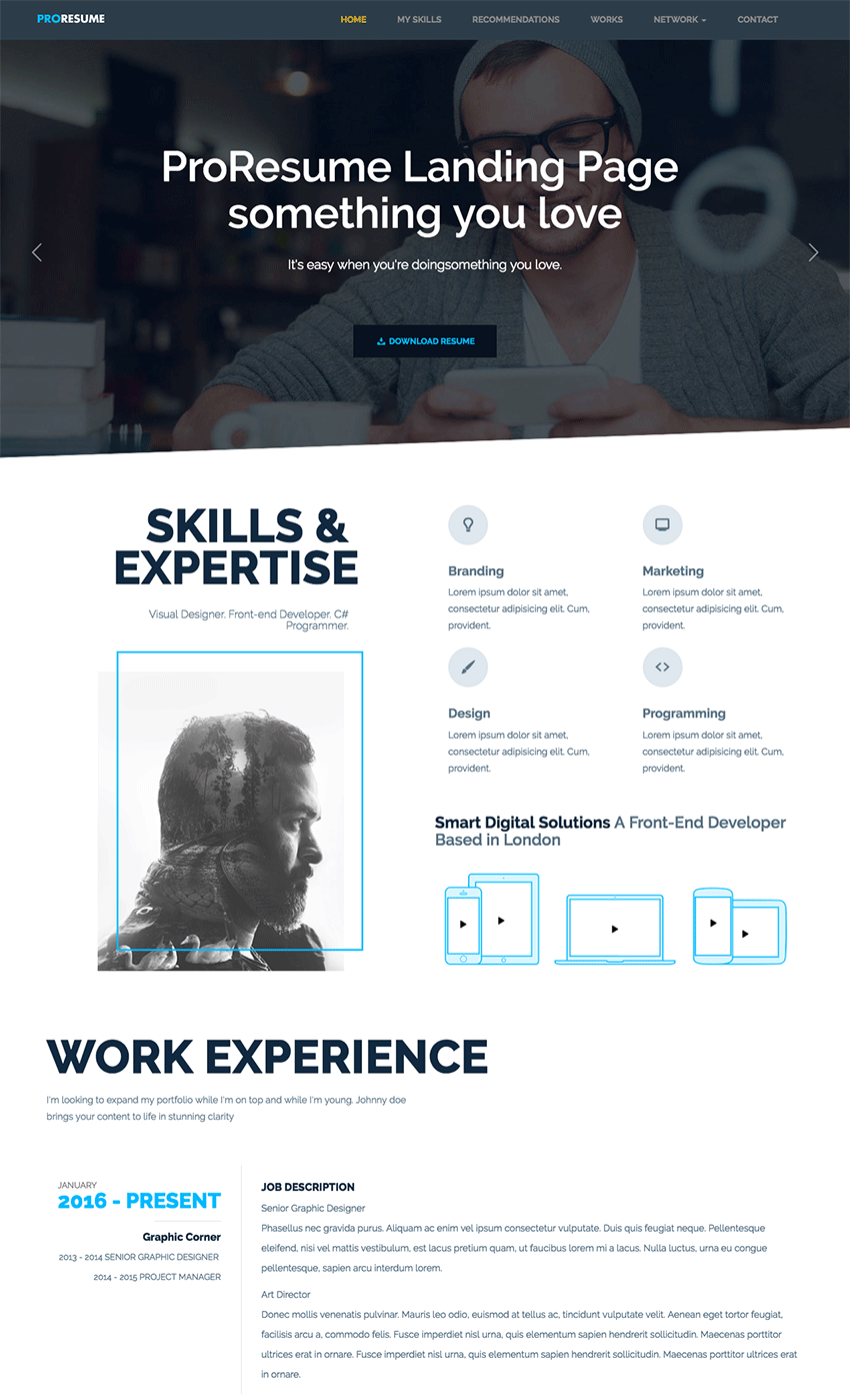 Resume Site online cv free html responsive bootstrap resume template for beautiful curriculum vitae site Proresume Professional Resumecv Site Template
