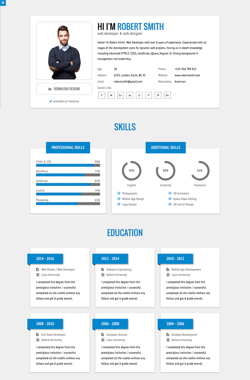 rstill minimal stylish html resume website template