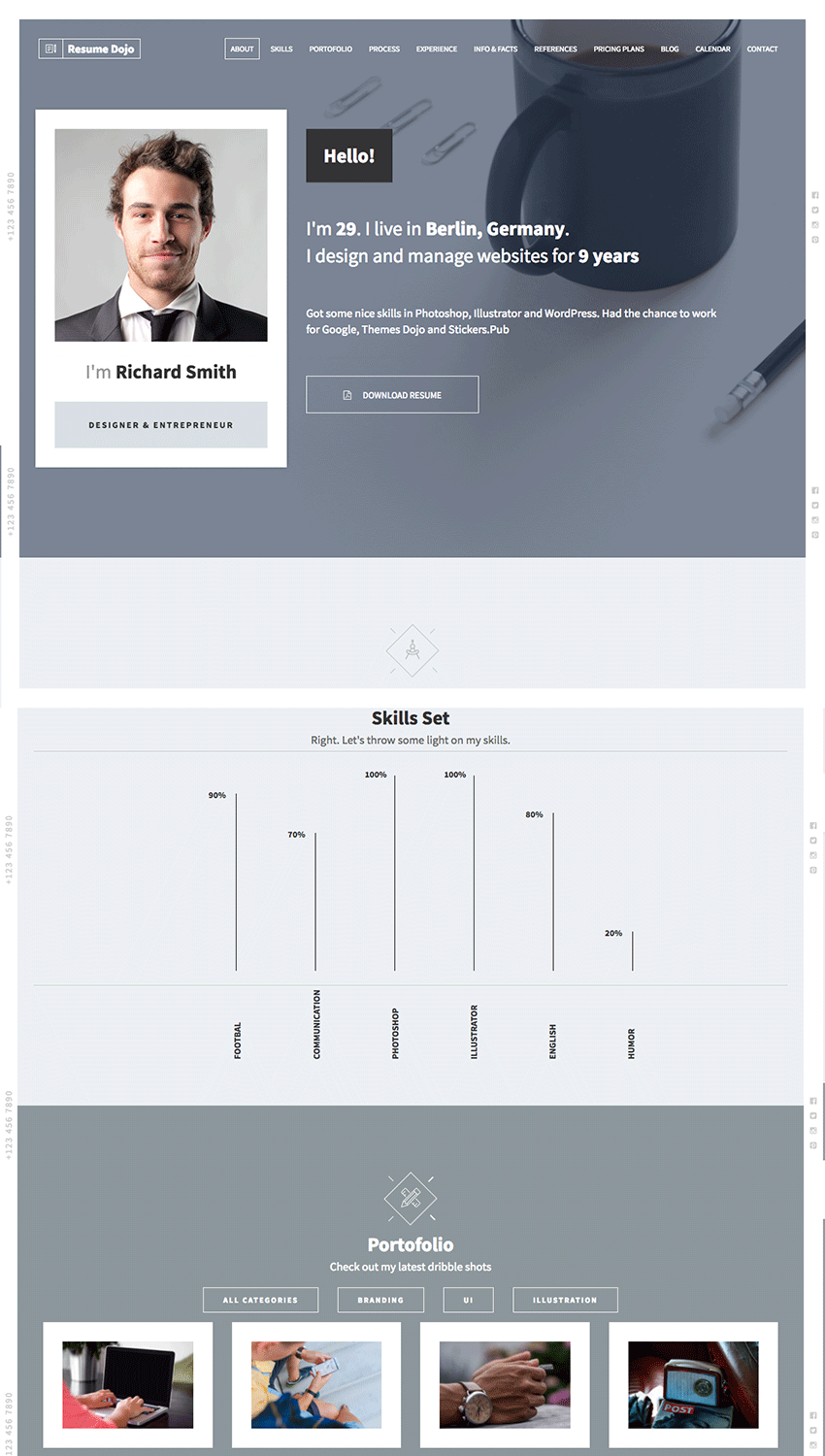 15 best html resume templates for awesome personal sites resume dojo feature rich html website template