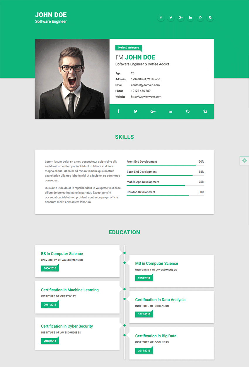 tile simple elegant resume cv html website template - Resume In Html Format