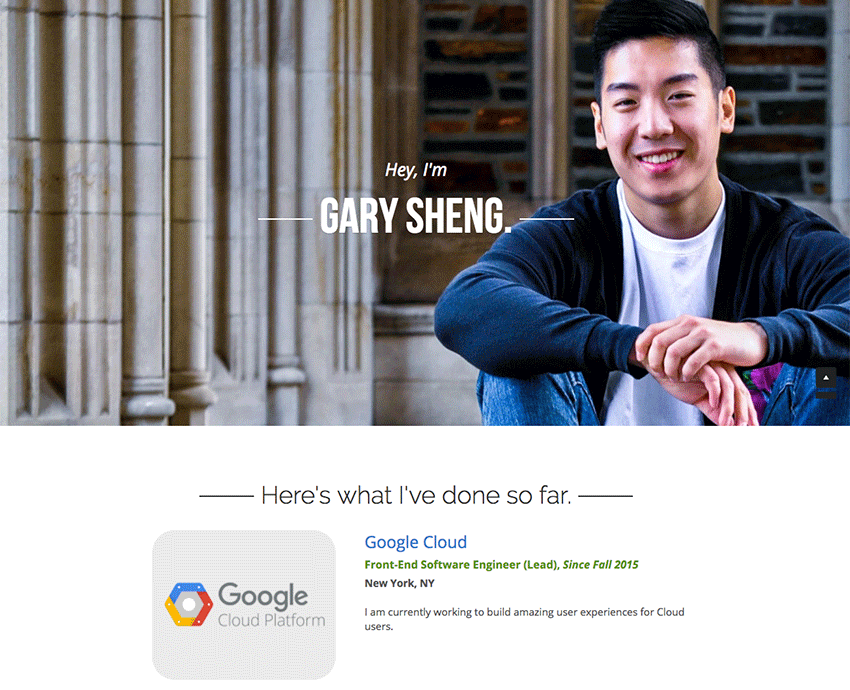 Gary Sheng resume website