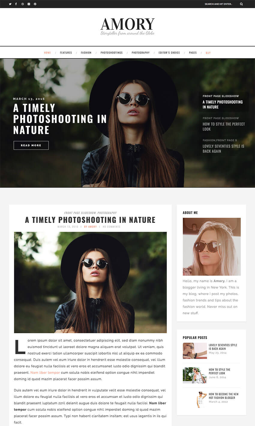 Amory Personal Blog WordPress Theme