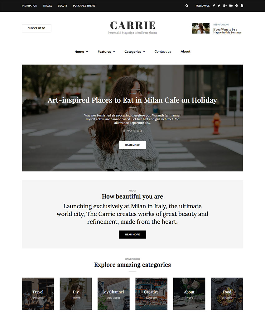 Carrie Personal WordPress Blog Theme Design