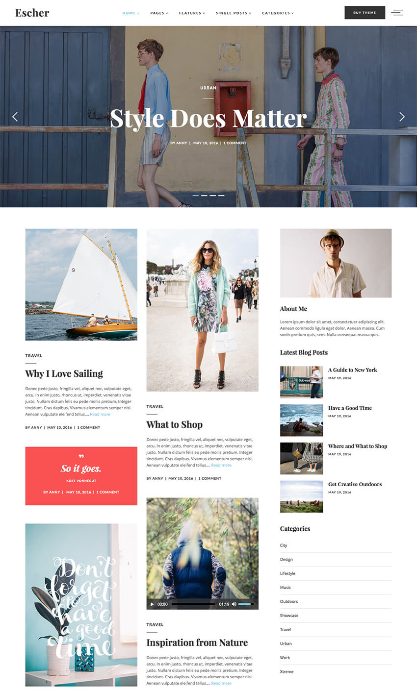 Escher personal WordPress blog theme