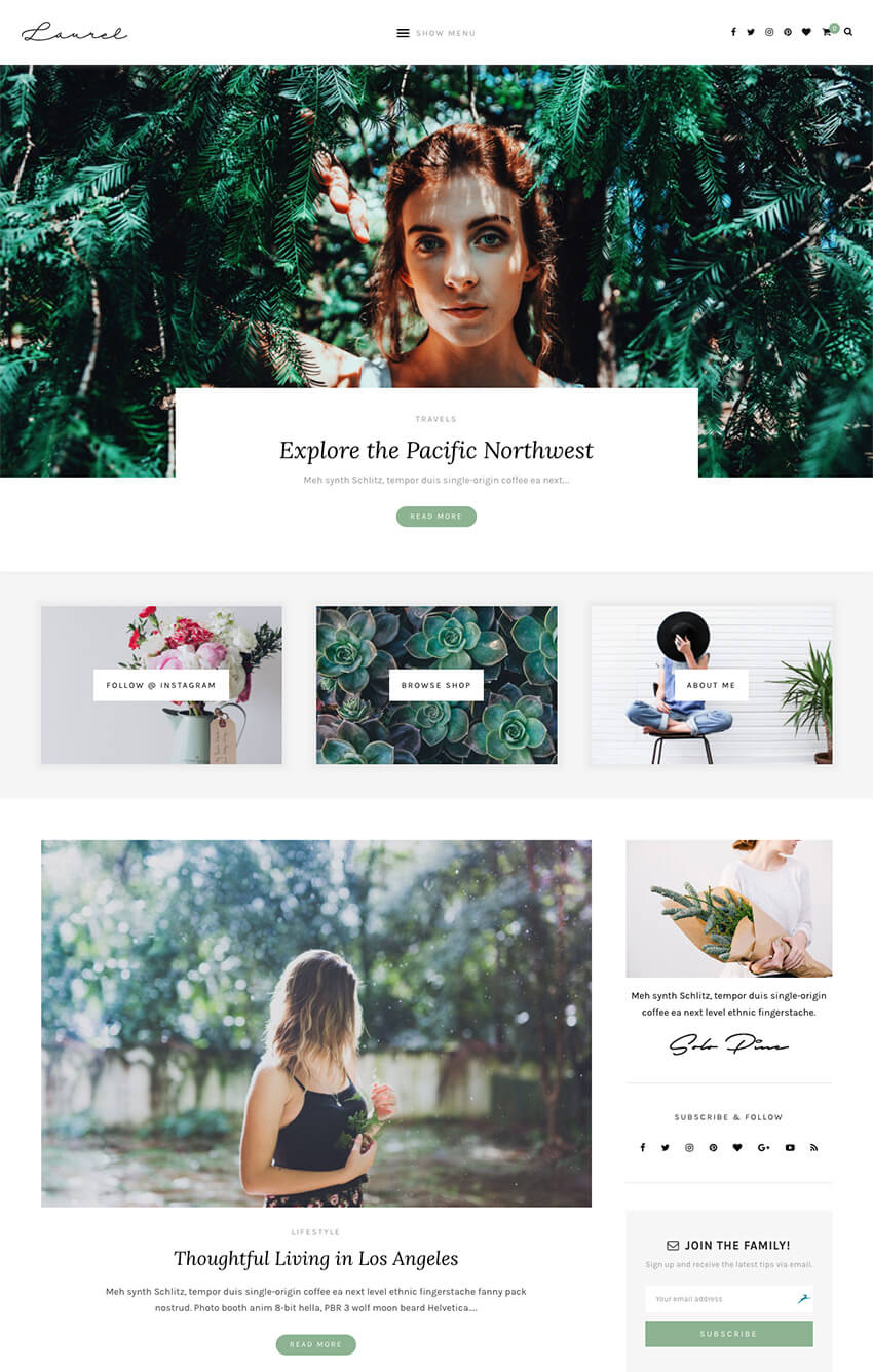 Laurel Best Elegant WordPress Blog and Ecommerce Theme