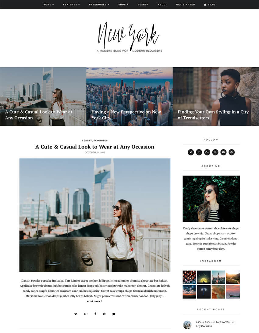 New York modern WordPress theme for personal blogs