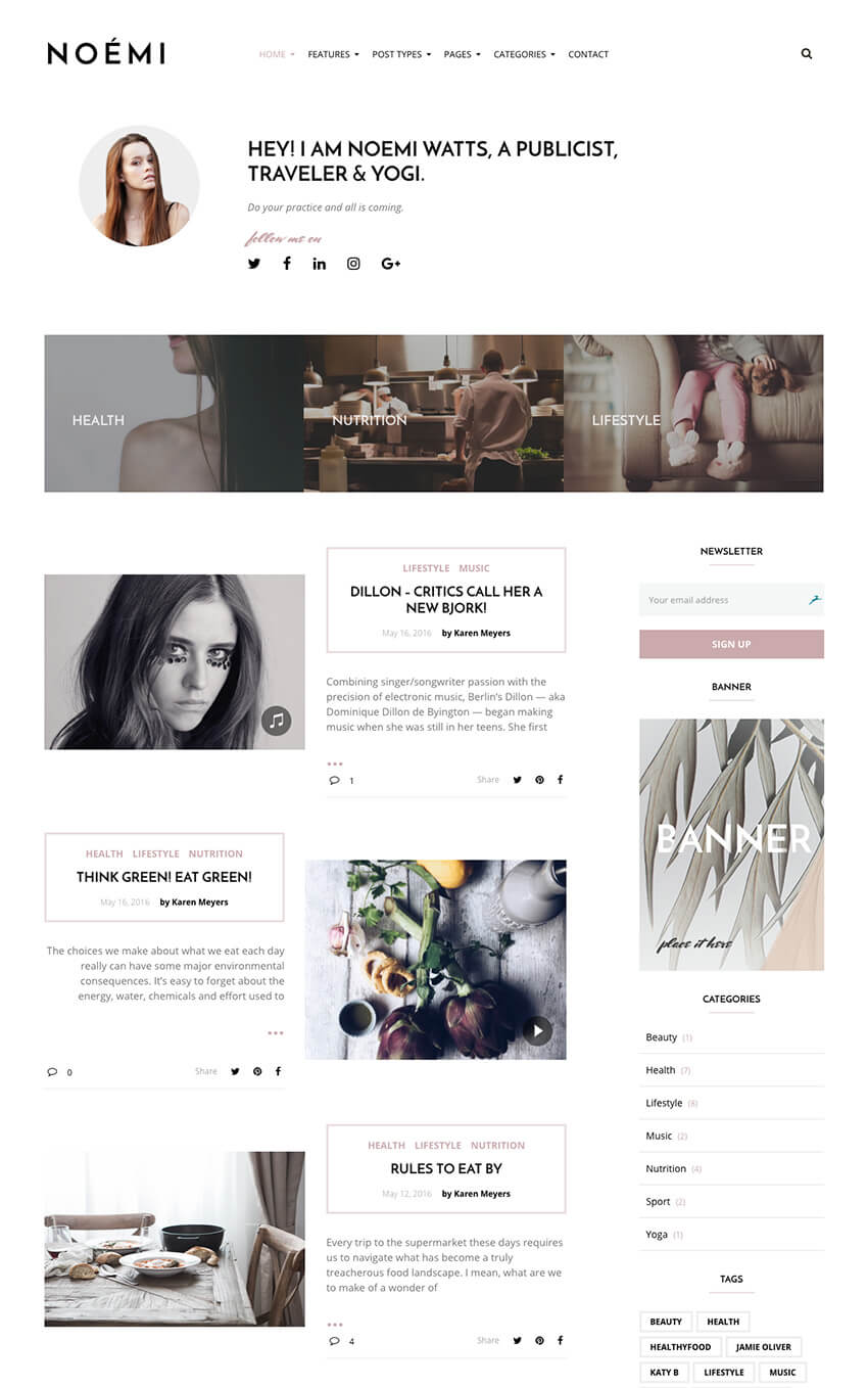 Noemi Lifestyle and fashion blog personal theme for WordPress