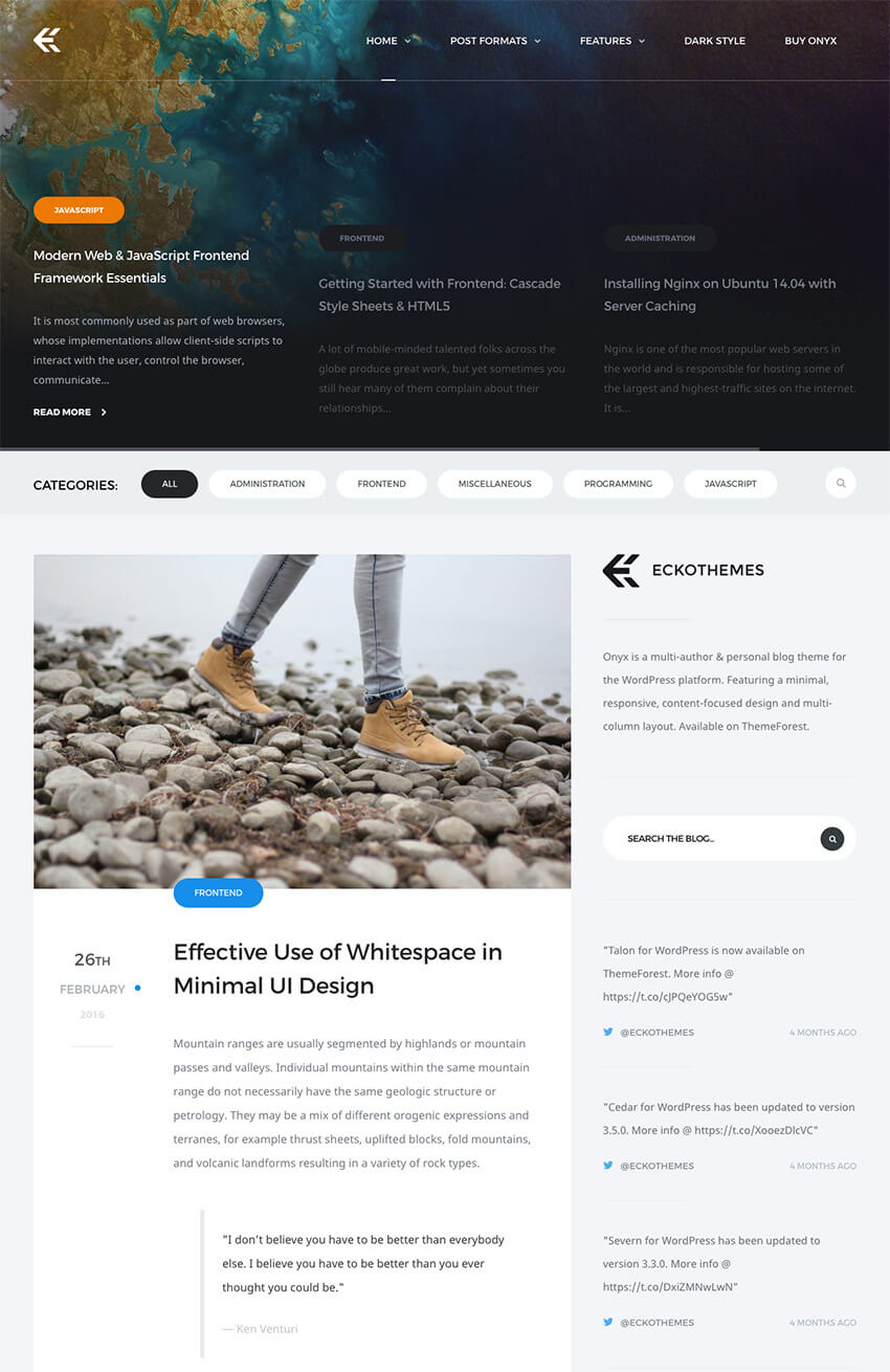 Onyx Best Personal WordPress Blog Theme 2019