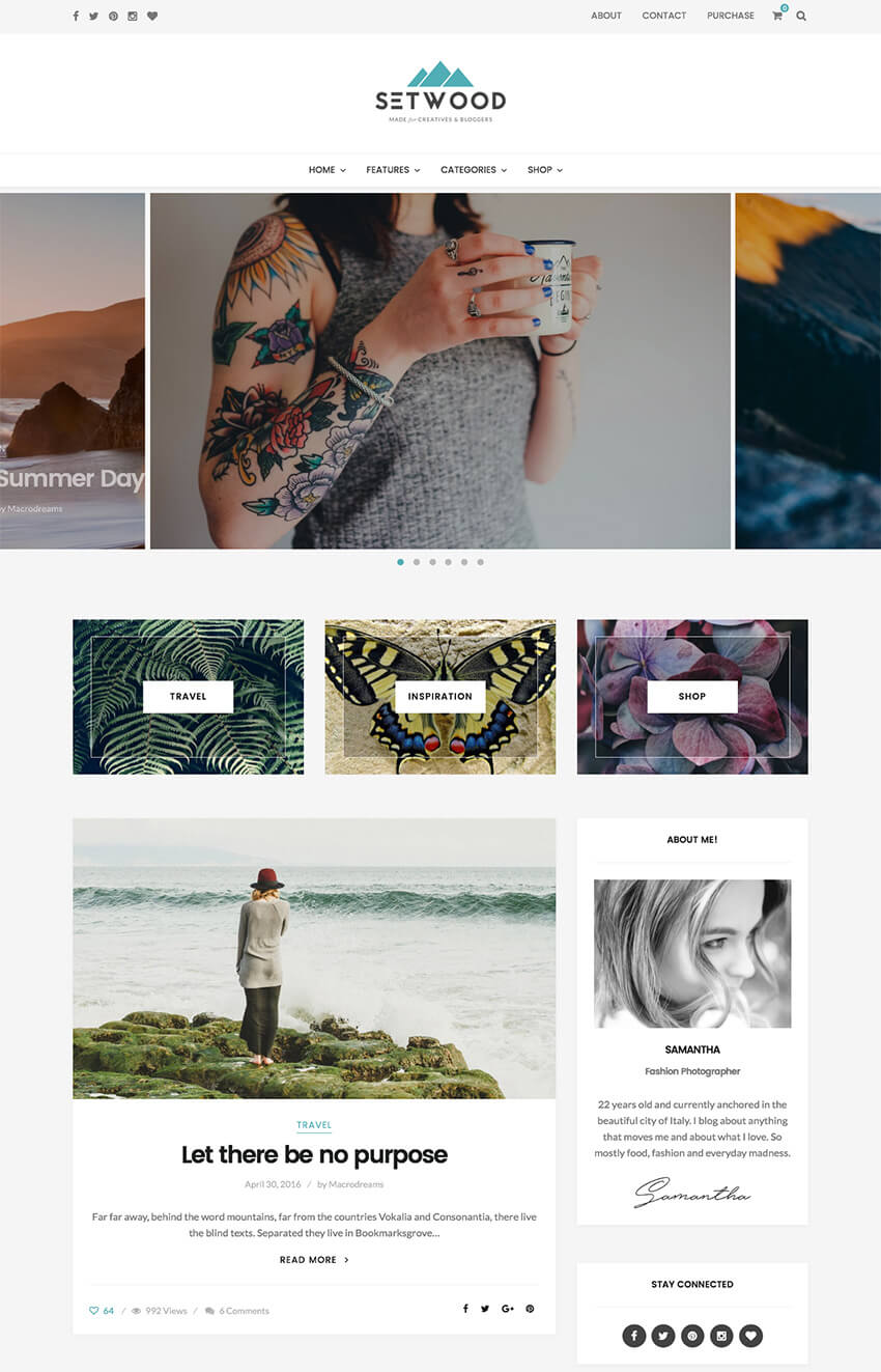Setwood personal blog WordPress theme