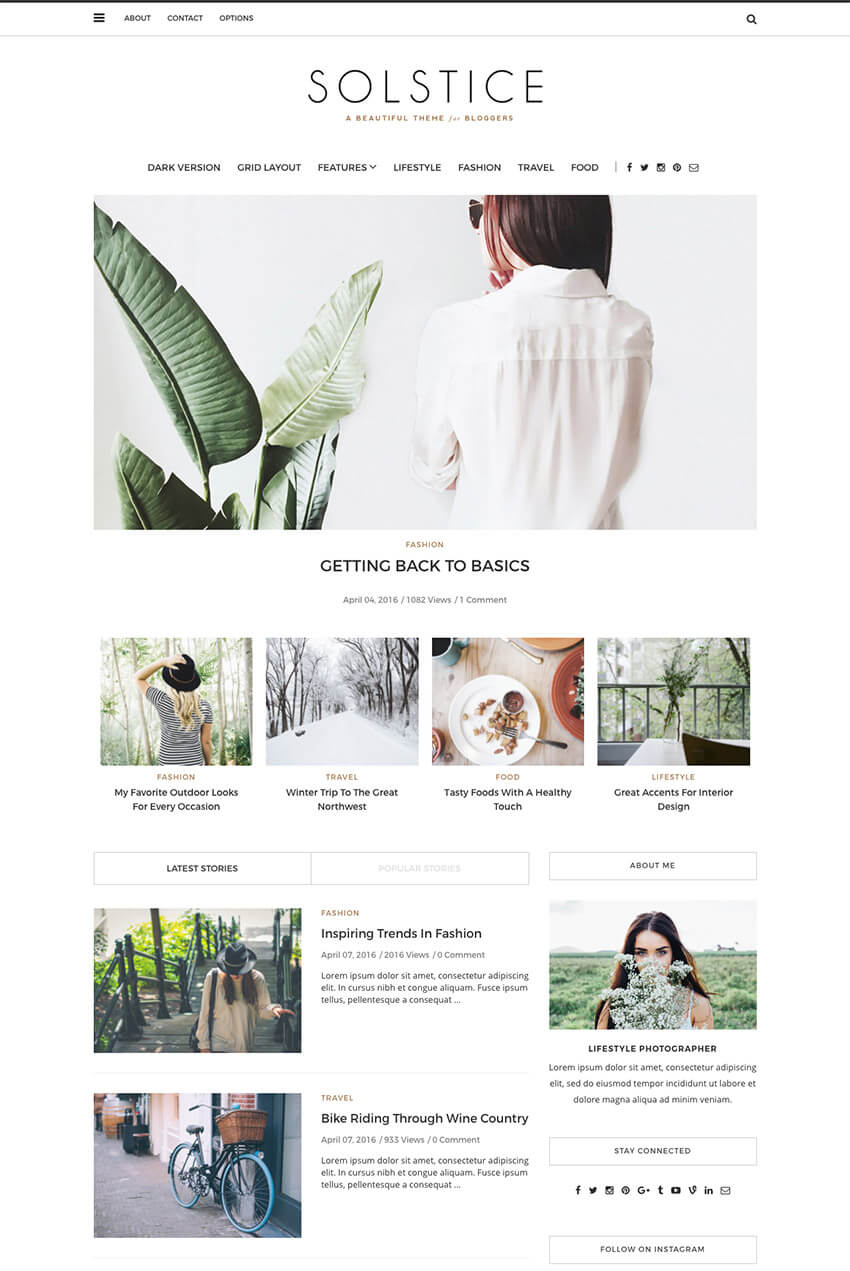 Solstice Personal WordPress Blog Theme