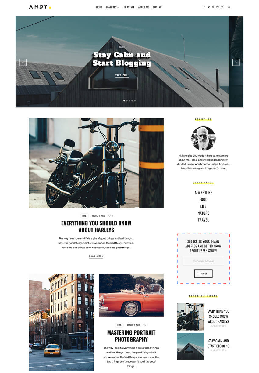The Blogger Personal WordPress Blog Theme