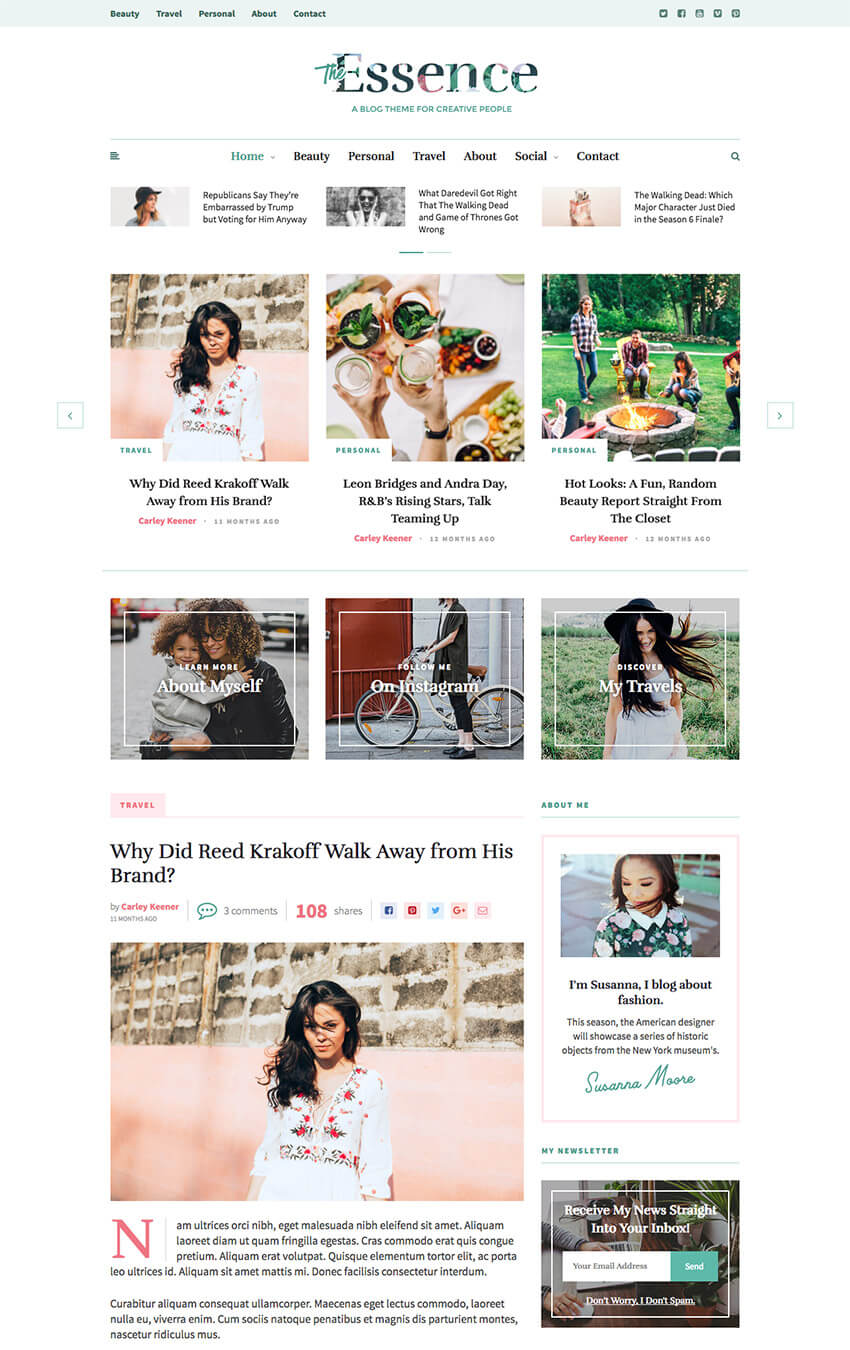 The Essence Feminine Personal WordPress Blog theme