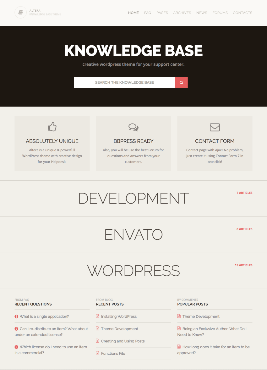 Altera knowledge-based WordPress theme