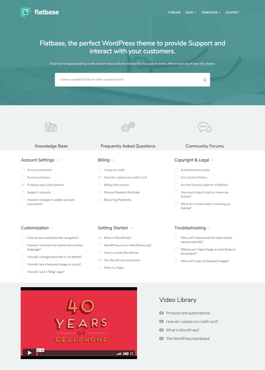 Flatbase Simple Knowledge-base wiki WordPress theme