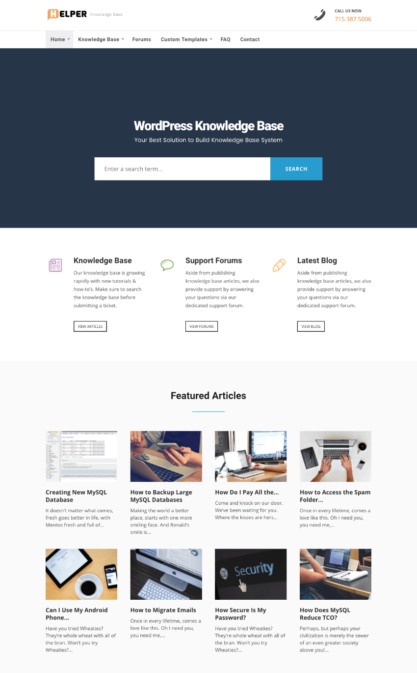 Helper Knowledge-Base WordPress theme