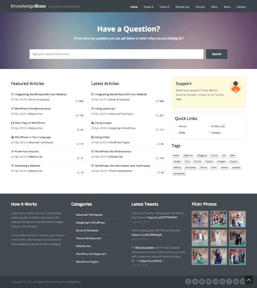 Knowledge Base Responsive Wiki WordPress Theme