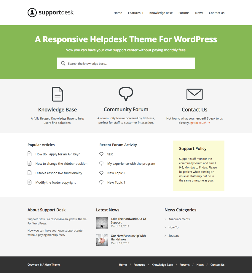 SupportDesk Helpdesk WordPress Wiki theme