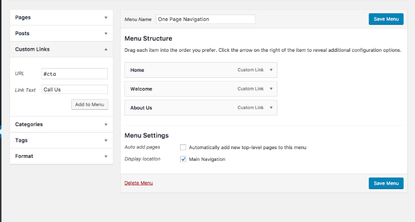 Adding a menu to your one page WordPress theme setup