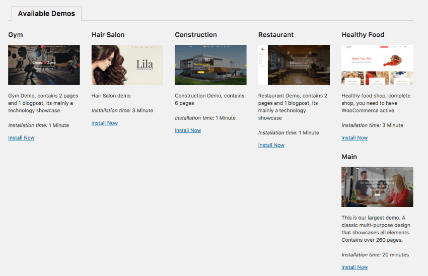 The Ark one page WordPress theme comes with several demos