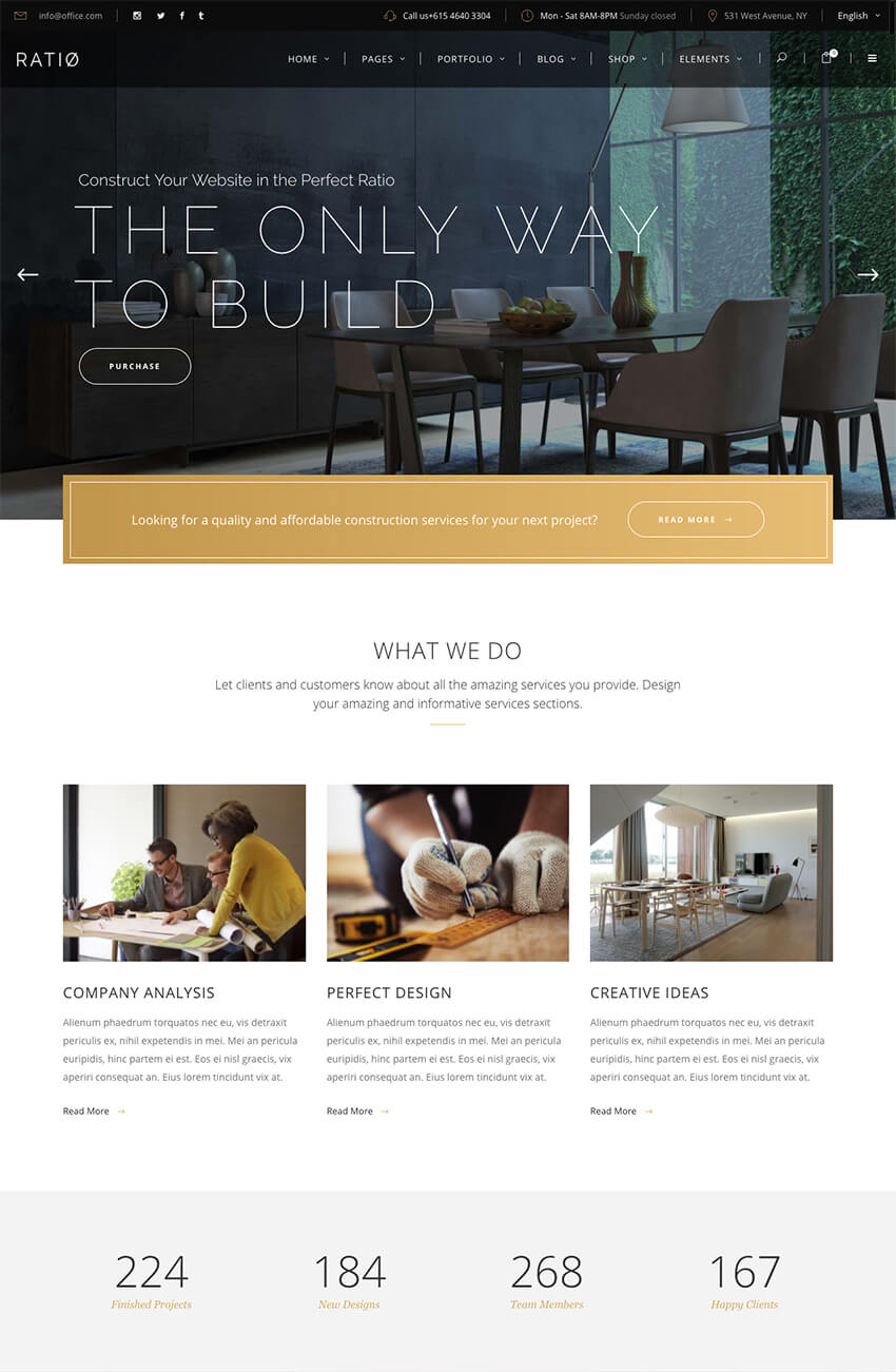 Ratio modern WordPress theme with clean site design
