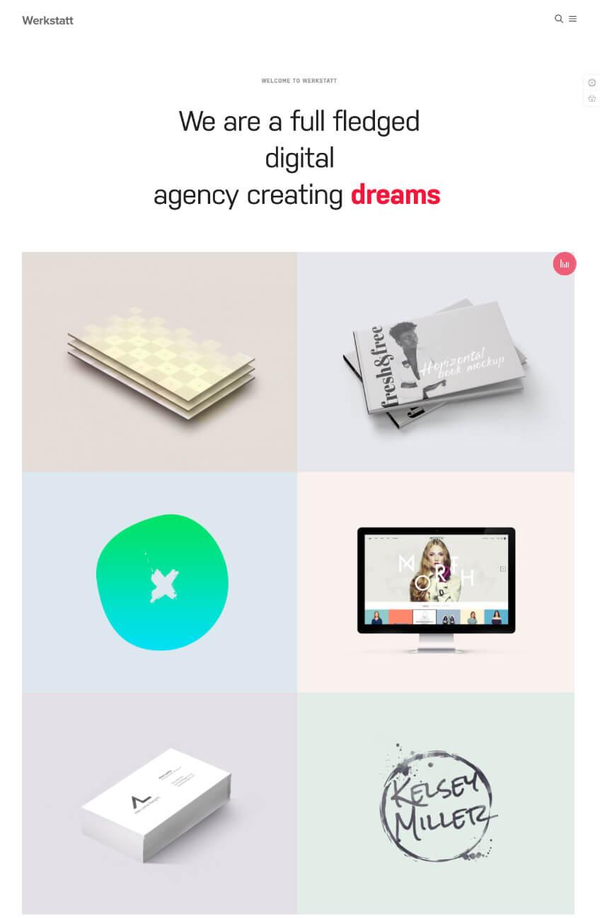 Werkstatt creative clean WordPress theme for portfolios