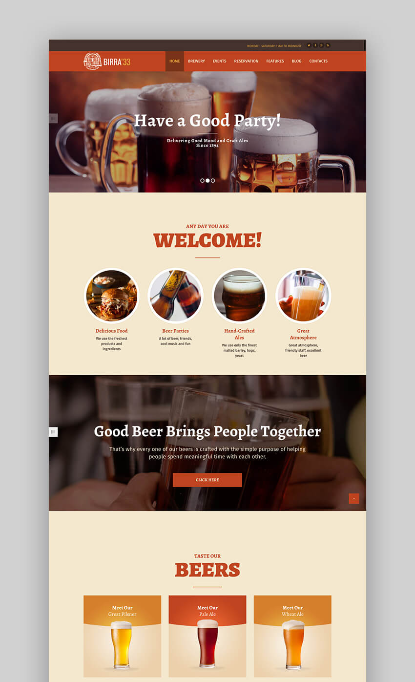 Birra33 Best brewery WordPress theme