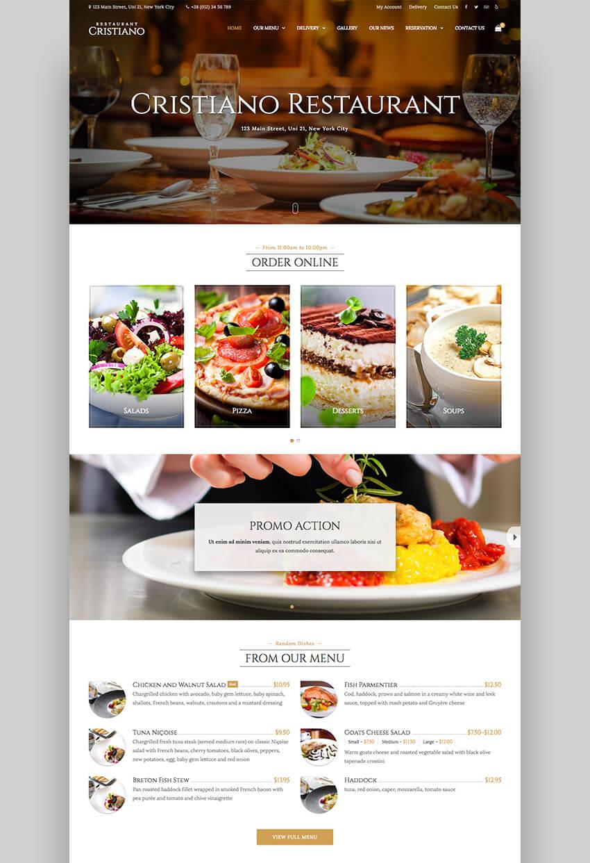 Cristiano minimal restaurant theme