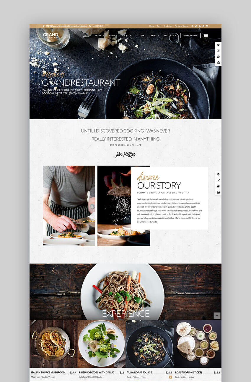 Grand Restaurant Premium WordPress Restaurant  Cafe Theme