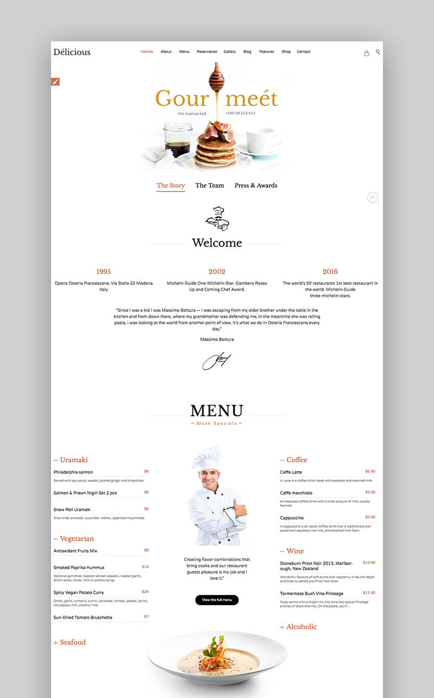 Restaurant Cafe Premium WordPress theme