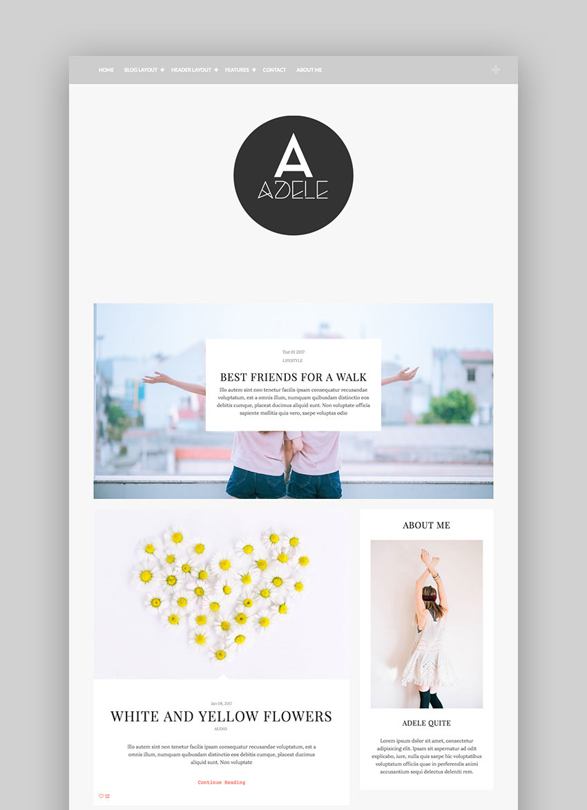 Adele Flat WordPress Theme Designed for Bloggers